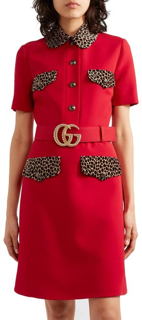Item - Red Leopard-trim Wool and Silk-blend In Mid-length Formal Dress Size 4 (S)