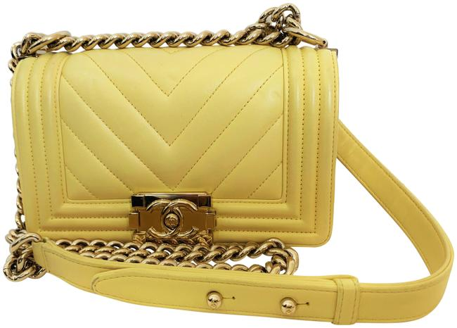 Item - Handbag Boy Quilted Classic Gold Chain Flap Ghw Small Cc Logo Yellow Lambskin Leather Shoulder Bag