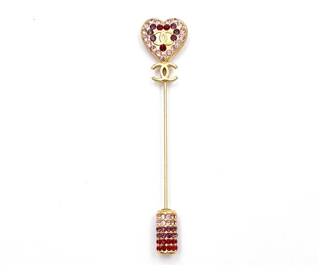 Item - Gold Pink Red Vintage Plated Cc Crystal Heart Pin