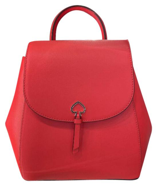 Item - Medium Flap Red Leather Backpack
