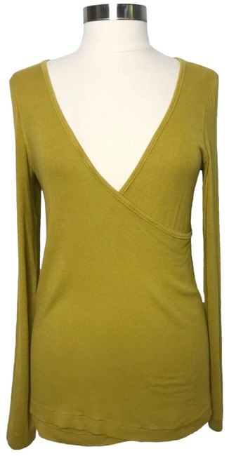 Item - Yellow We The Ribbed Wrap Long Sleeve Mustard Small S Tee Shirt Size 4 (S)