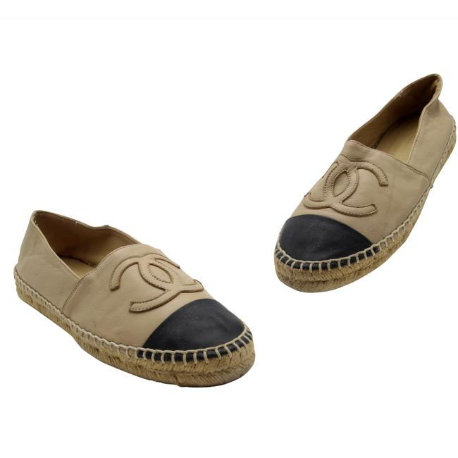 Item - Beige Leather Cap Toe Cc Embroidered Espadrilles 37 Flats Size EU 36 (Approx. US 6) Regular (M, B)