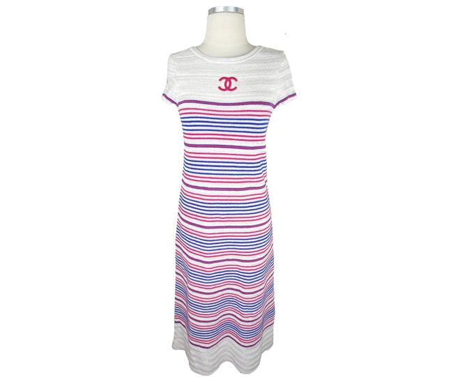 Chanel Ivory Red Blue Reversible Stripe Cashmere Linen Short Casual Maxi Dress Size 2 (XS) Chanel Ivory Red Blue Reversible Stripe Cashmere Linen Short Casual Maxi Dress Size 2 (XS) Image 1
