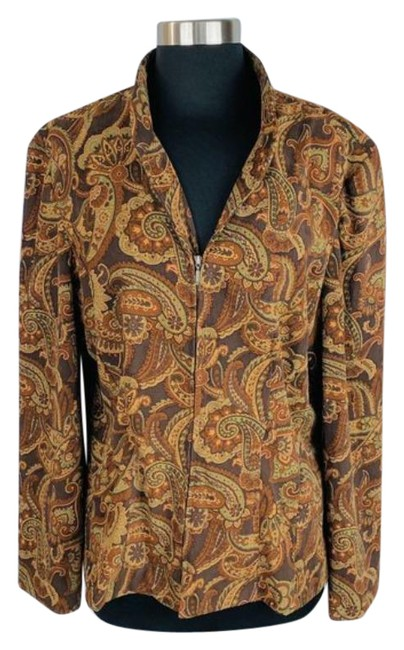 Item - Brown Paisley Zip Blouse Size 12 (L)