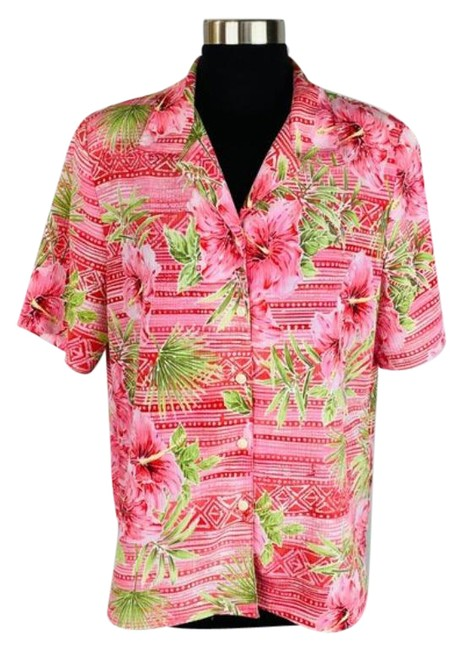 Item - Pink Green Tribal Floral Hawaiian Shirt Button-down Top Size 10 (M)