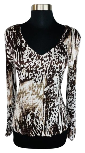 Item - Brown Tan Abstract Animal Print Crinkle Blouse Size 8 (M)