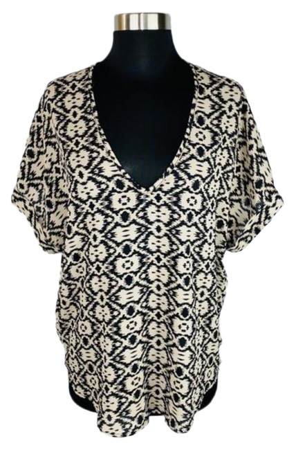 Item - Black Tan Inkblot Print V Neck with Cuffed Sleeves Blouse Size 4 (S)