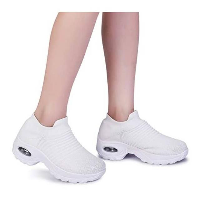 Item - White Slip On Breathable Mesh Hiking No-slip Walking Sneakers Size US 9 Regular (M, B)