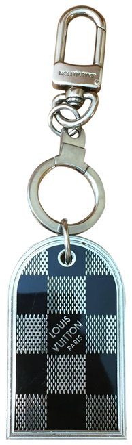 Item - Silver and Damier Double Sided Logo Keychain Hardware Charm