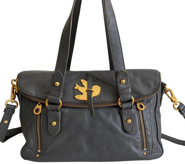 Item - Petal To The Metal Gray Leather Satchel