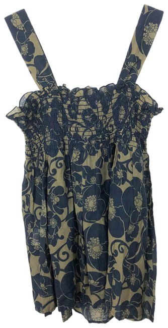 Item - Green and Blue Printed Cotton Toile Floral Print Smocked Tank Top/Cami Size 4 (S)