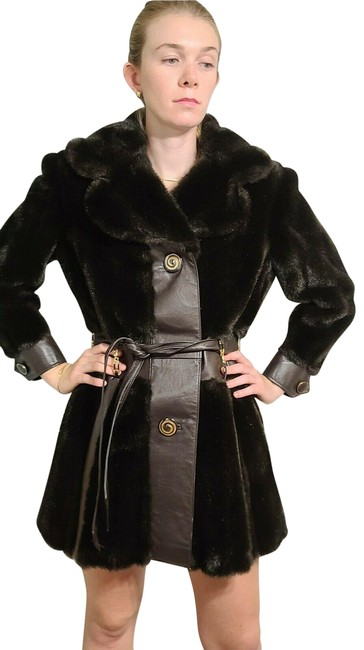 "Item - Chocolate 1970s ""Mod Squad"" Faux & Leather Jacket Coat Size 4 (S)"