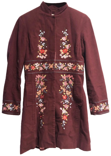 Item - Burgundy Sleeping On Snow Embroidered Floral Coat Size 4 (S)