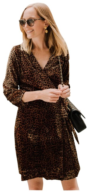 Item - Brown Leopard Print Wrap Short Casual Dress Size 2 (XS)