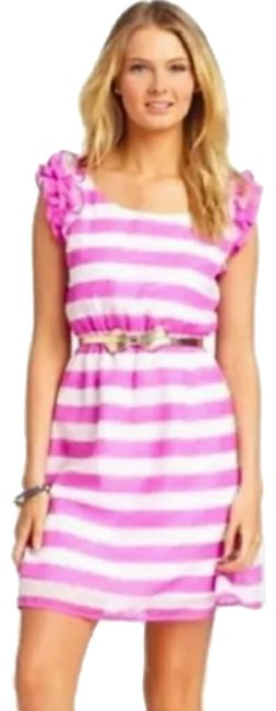 Item - Pink White Danna Short Casual Dress Size 16 (XL, Plus 0x)