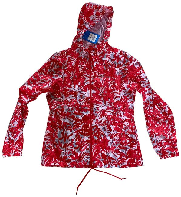 Item - Red and White Floral Zipup Hoodie Windbreaker Small Jacket Size 4 (S)
