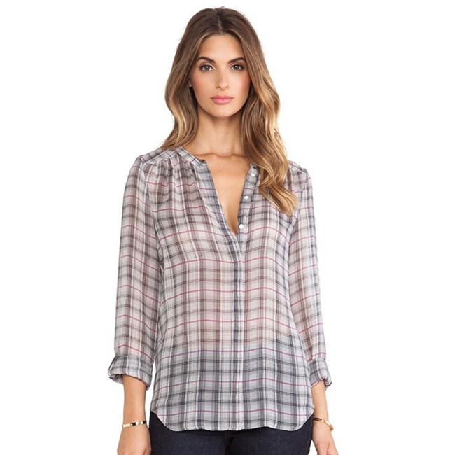 Item - Gray Marcie Plaid Silk In Sterling Blouse Size 6 (S)
