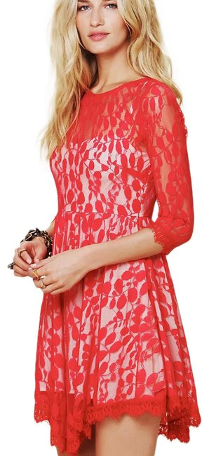Item - Red Floral Short Night Out Dress Size 6 (S)