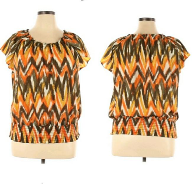 Item - Orange XL Qs34e346f2 Milk Tie-dye Zigzag Blouse Size 16 (XL, Plus 0x)