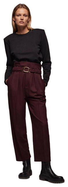 Item - Maroon With Buckle Belt Pants Size 4 (S, 27)