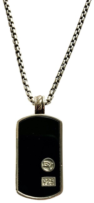 Item - Black Sterling Silver Onyx Dog Tag Pendant Dy Chain Necklace
