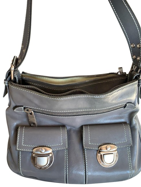Item - Push Lock Grey Exterior with Light Green Interior and Stitching Leather Shoulder Bag