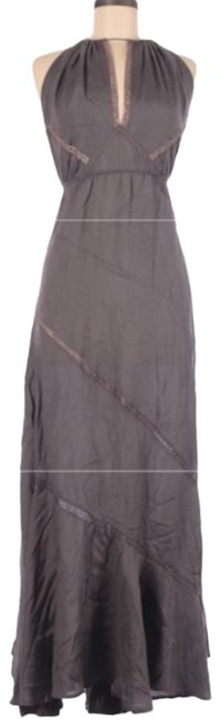 Item - Gray Maxi Lace Trim Halter Long Night Out Dress Size 8 (M)
