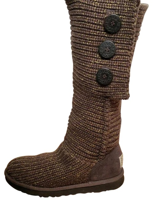 Item - Brown Gold Classic Cardy Metallic Knit Boots/Booties Size US 9 Regular (M, B)