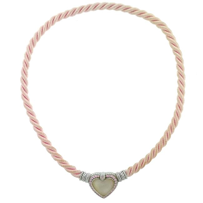 Item - Pink Sterling Silver Heart Pendant On Rope Necklace