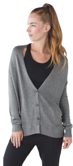 Item - Gray Cardi In The Front Heathered Medium / Silver Spoon Activewear Outerwear Size 4 (S)