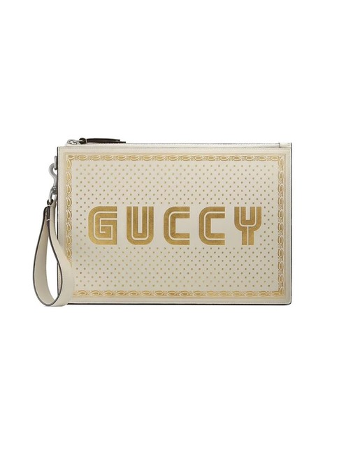 "Item - White/Gold ""Guccy"" Pouch White Leather Clutch"