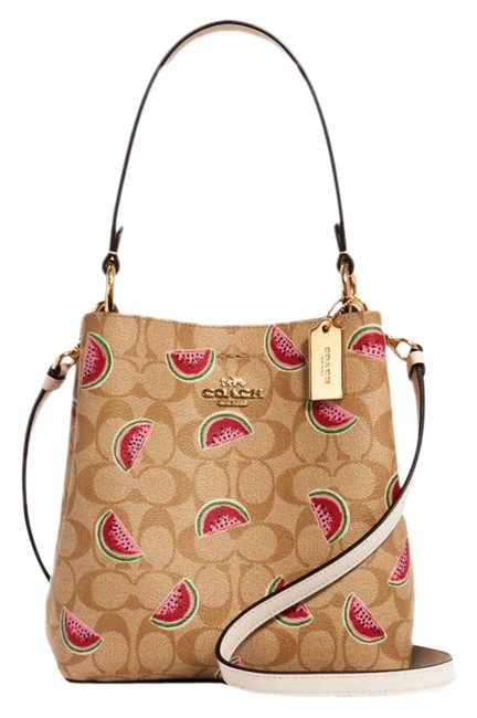 Item - Bucket Small Town In Signature with Watermelon Print /Lt Khaki/Red Multi Coated Canvas Cross Body Bag