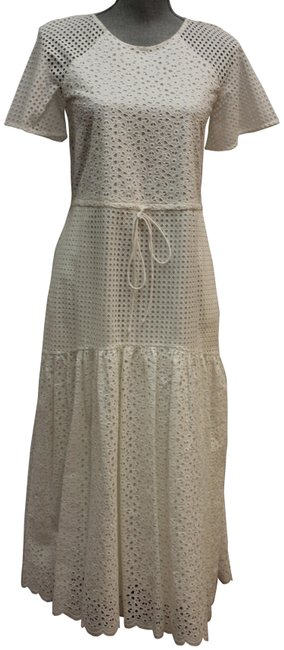 Item - Ivory Dvf Marlowe Eyelet Midi Mid-length Short Casual Dress Size 2 (XS)