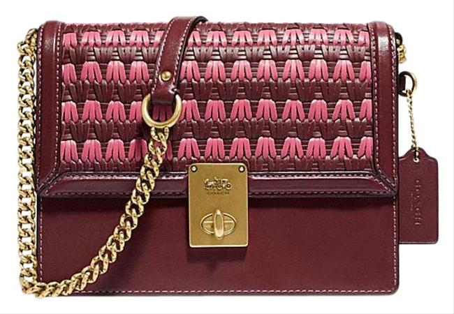 Item - Shoulder Hutton with Weaving Wine Multi Leather Cross Body Bag