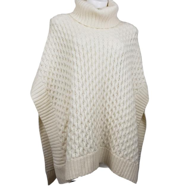 Item - XS Poncho Cable Knit Turtleneck Cream Sweater