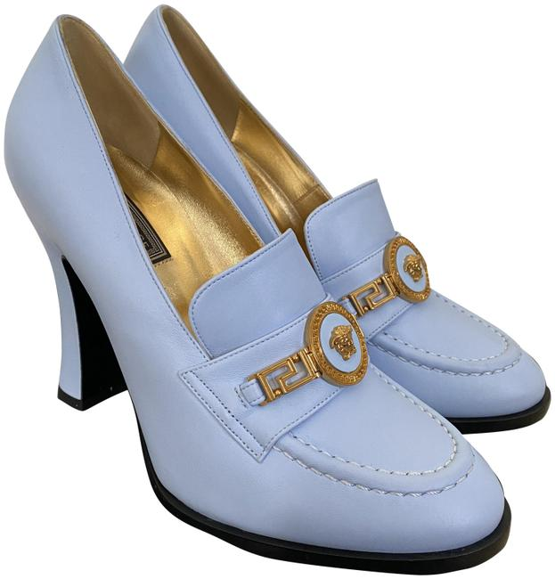 Item - Blue Tribute Medusa Gold Logo Light Leather Loafer Pumps Size EU 37.5 (Approx. US 7.5) Regular (M, B)