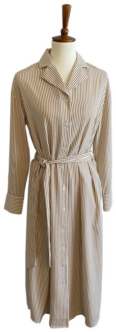 Item - White and Tan Shirtwaist Mid-length Work/Office Dress Size 6 (S)