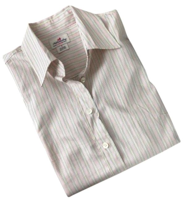 Item - White Blue Haberdashery Striped 3/4 Sleeve Shirt Button-down Top Size 4 (S)