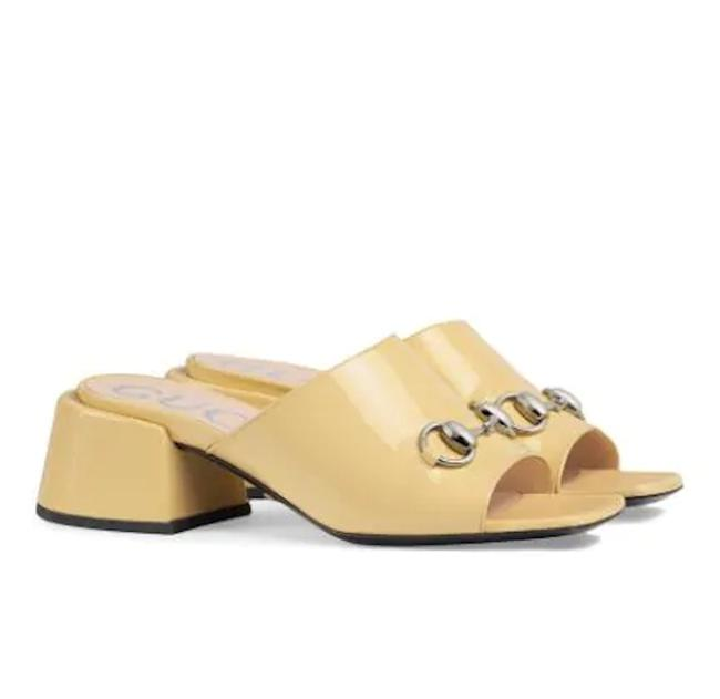 "Item - Butter Yellow Horsebit Lexi 55"" Women Patent Leather Mid-heel Mules/Slides Size EU 38 (Approx. US 8) Regular (M, B)"
