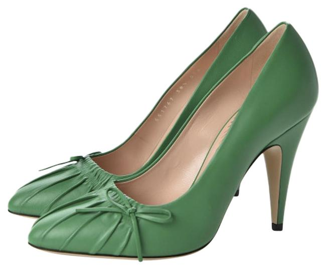 Item - Green Nappa Charlotte Pointed Toe Leather Pumps Size EU 38 (Approx. US 8) Regular (M, B)