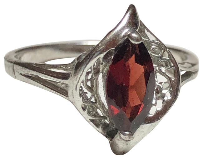 Item - Red 925 Sterling Stone Size 9 Ring