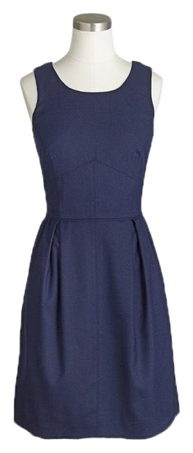 Item - Navy Pleated Shift In Wool Flannel 0 Mid-length Work/Office Dress Size 0 (XS)