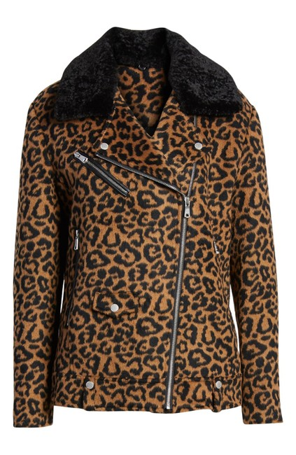 Item - Multicolor Leopard Print Wool with Faux Shearling Collar New Jacket Size 6 (S)