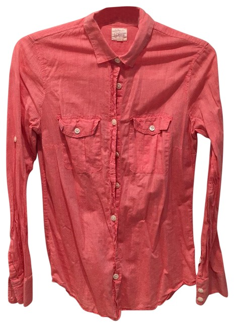 Item - Red Pink/Red Long Sleeves Shirt Button-down Top Size 0 (XS)
