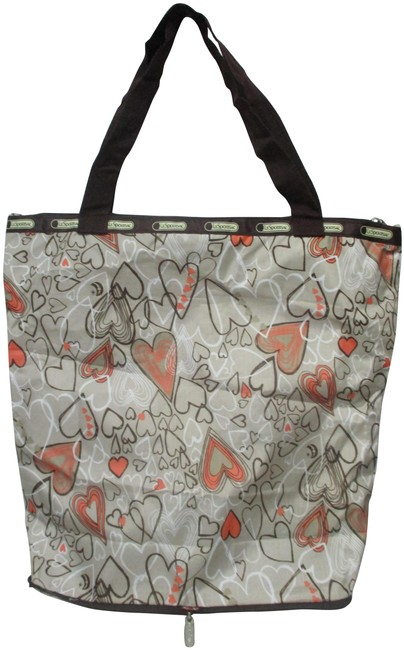 Item - Tote Heart Print Large Foldable Lg Packable Multi-color Nylon Weekend/Travel Bag