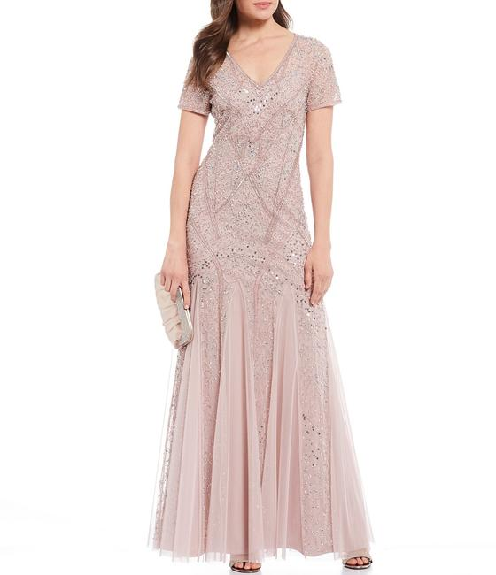 Item - Cameo Beaded with Short Sleeves In Long Formal Dress Size 4 (S)