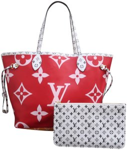 Louis Vuitton Lv Neverfull Mm Giant Red&pink Shoulder Bag