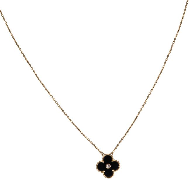 Item - Rose Gold Limited Edition Onyx Diamond Vintage Alhambra Necklace