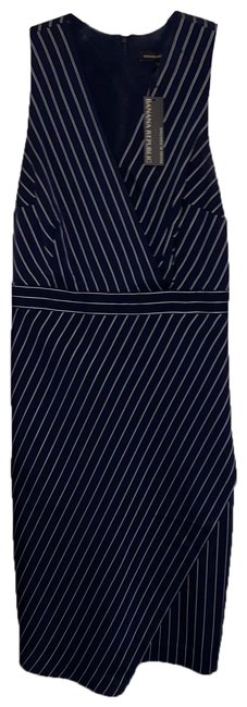 Item - Navy Blue and White 500029455237 Mid-length Work/Office Dress Size 12 (L)