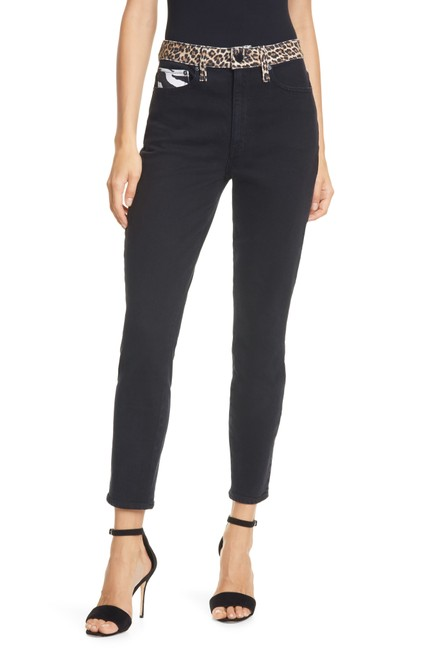 Item - Black Multi Medium Wash Alice & Olivia Good Queen Of The Night High Rise Skinny Straight Leg Jeans Size 28 (4, S)
